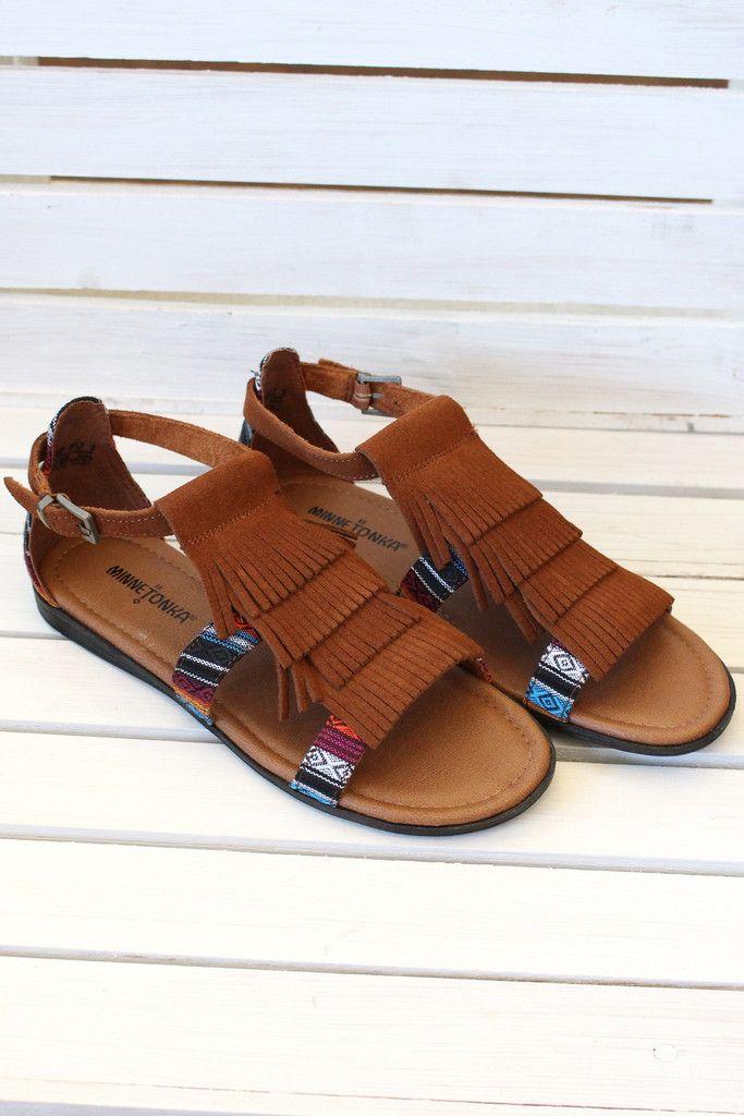 Minnetonka: Maui Fringed Sandals {Brown} | Footwear – The Fair Lady Boutique