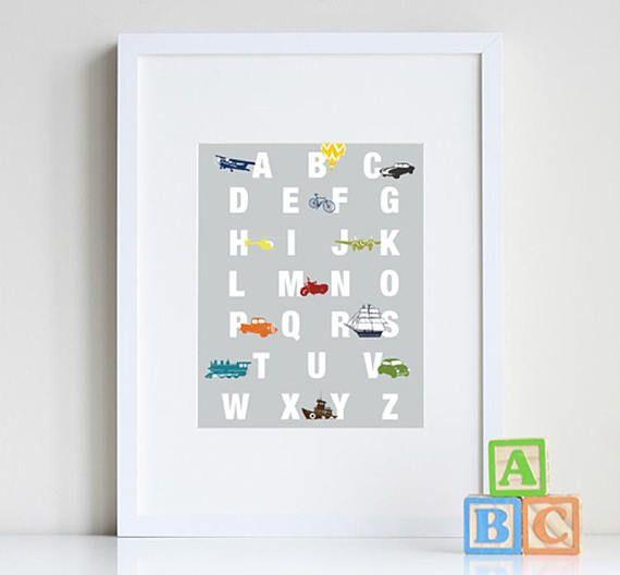 Alphabet poster Transportation nursery ABC wall art for