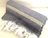 Peshtemal Turkish Towel Grey and Cream Stripe Tasseled Eco Friendly: Turkish Towels, Cream Stripes, Peshtemal Turkish, Stripes Tassels, Towels Grey