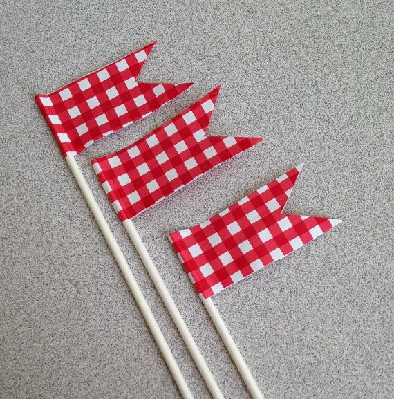 Cake toppers Red Gingham check Summer Cookouts decorations 4th of July parties, backyard barbecues country wedding https://www.etsy.com/listing/266883282/cake-toppers-red-gingham-check-summer?ref=shop_home_active_1