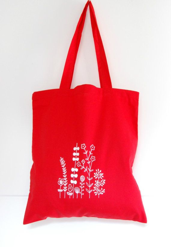 Beautiful red tote bag, hand screen printed, by Arigato-Bcn on Etsy.