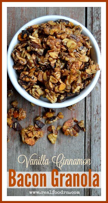 Vanilla Cinnamon Bacon Granola by @RealFoodRN