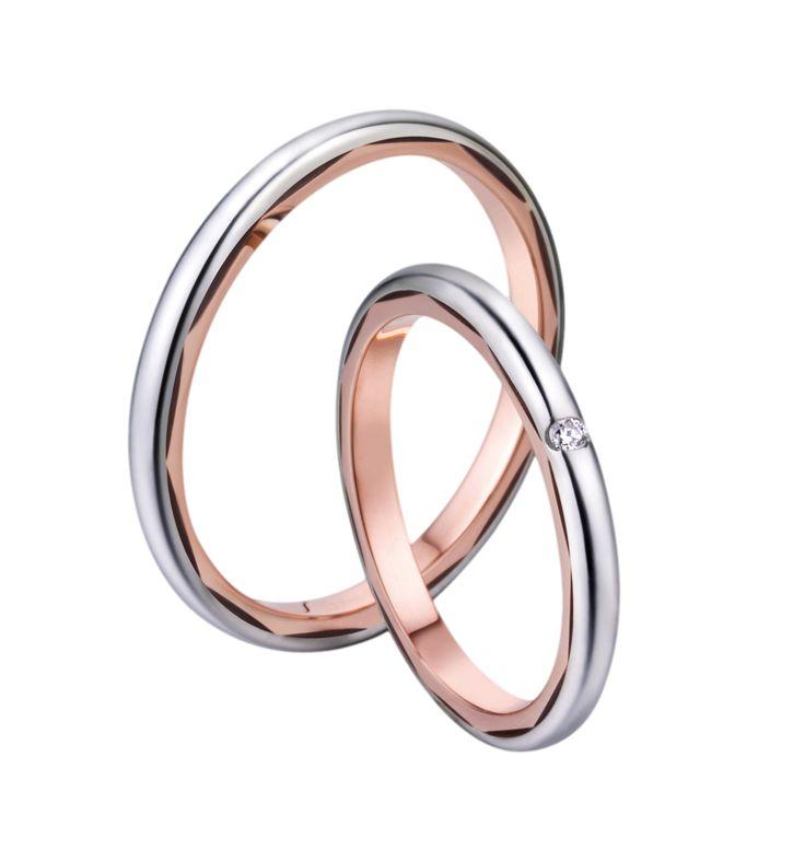 Snubní prsteny P2555 v kombinaci bílého a červeného zlata. Dámský prsten zdoben briliantem.