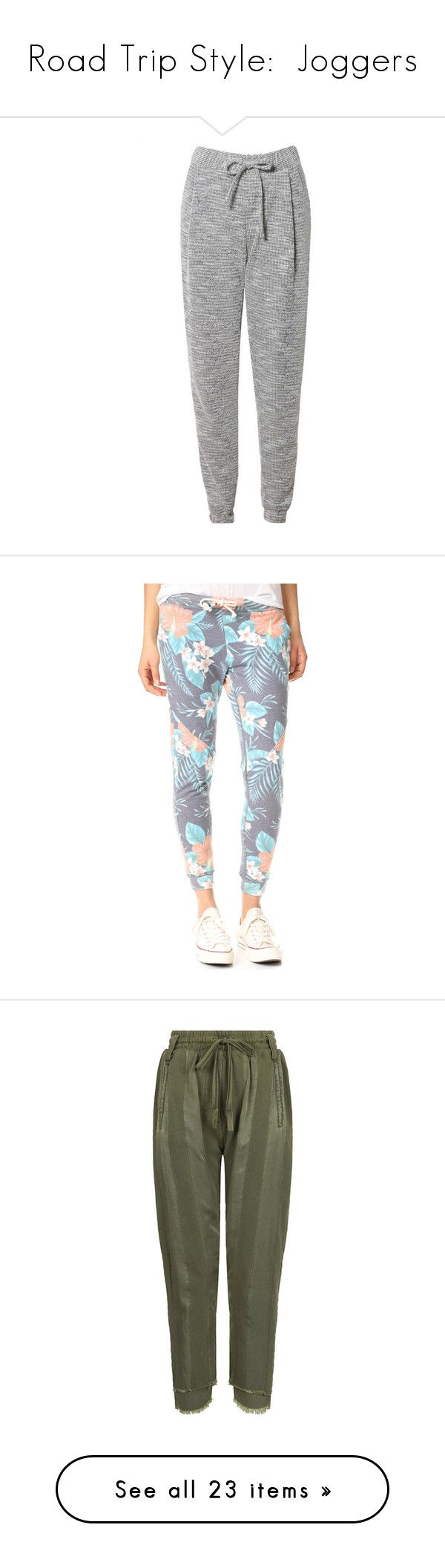 """Road Trip Style:  Joggers"" by k-hearts-a ❤ liked on Polyvore featuring activewear, activewear pants, pants, bottoms, calças, clothing - trousers, jeans, tulum garden, sol angeles and jogger sweatpants"