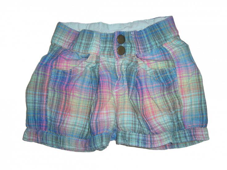 Maat 92 Roze/groen/blauw ruit Korte broek Merk H&M