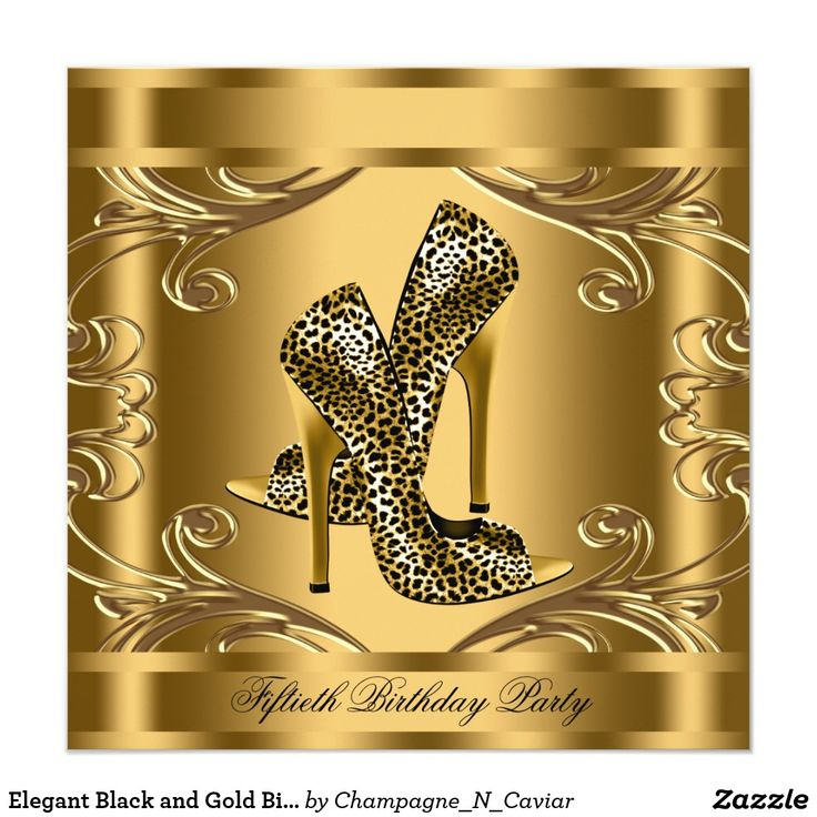 Elegant Black and Gold Birthday Party Card Beautiful gold swirls black and gold leopard birthday party invitation. This elegant black and gold leopard birthday party invitation is easily customized for your event by adding your event details, font style, font size & color, and wording.