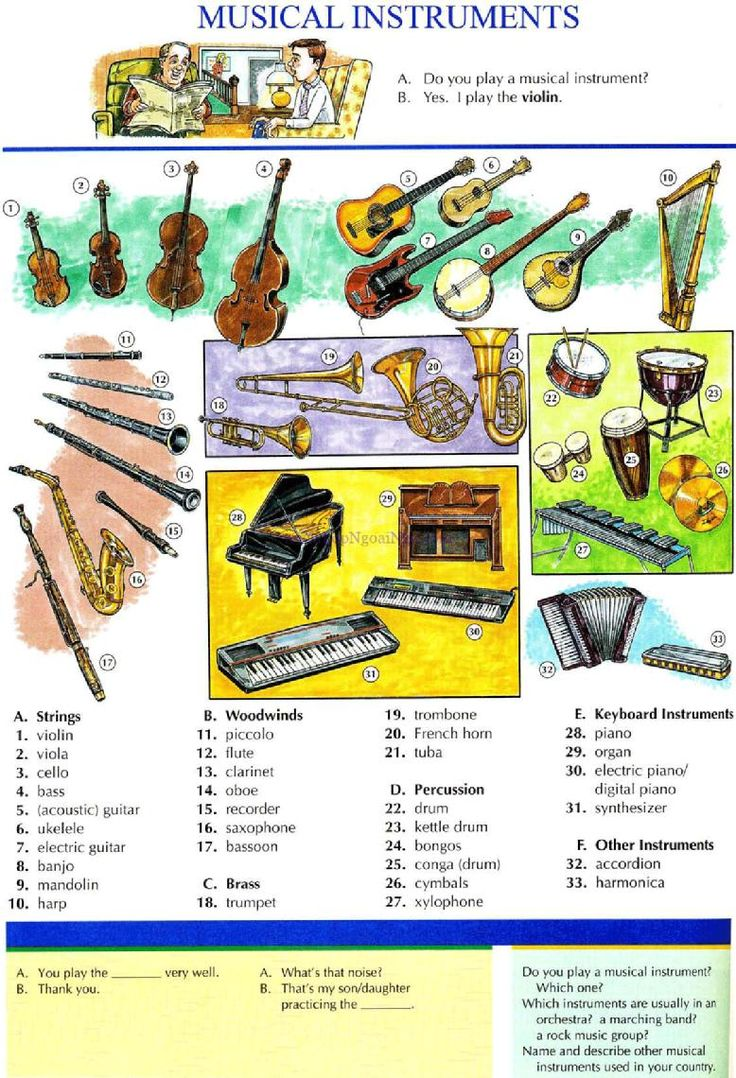 108 - MUSICAL INSTRUMENTS - Pictures dictionary - English Study