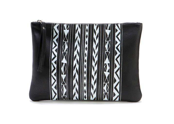 Large Leather Clutch - Screen Print Black and White Geo Stripe. $95.00, via Etsy.