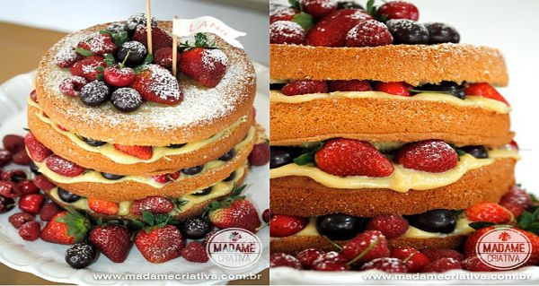 Quer um bolo maravilhoso e super fácil de fazer? Então aposte no Naked Cake de Frutas Vermelhas. Confira essa receita do blog Madame Criativa e encante seu
