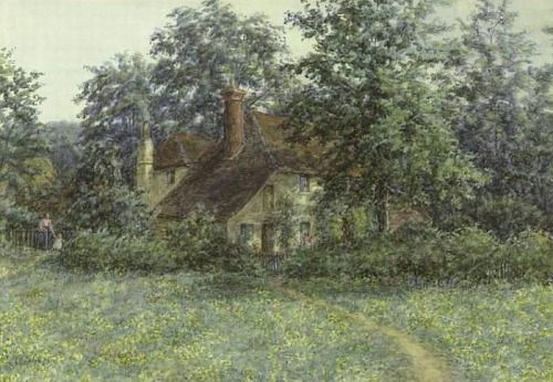 Buttercups, watercolor on paper by Caroline Sharpe Patterson, British, 1856-1911. This artist was a sister to Helen Allingham and was known for her miniature portraits. The quiet gentleness of this scene makes it irresistible.