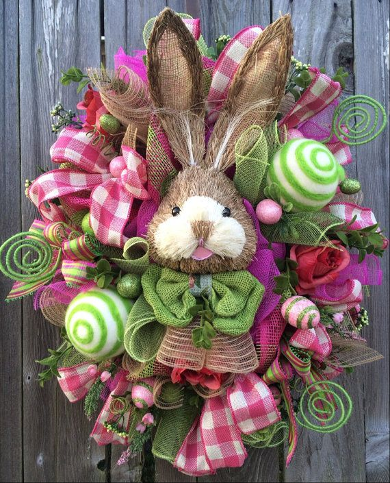 Reserved Easter Wreath, Bunny Wreath, Easter Swag, Spring Wreath, Rustic Easter Swag