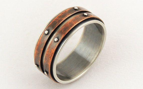 III Men's wedding band ring - men engagement ring,silver copper ring,men's ring,unique wedding ring