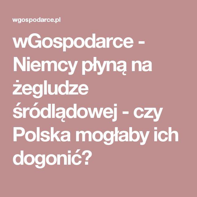 wGospodarce - Niemcy płyną na żegludze śródlądowej - czy Polska mogłaby ich dogonić?