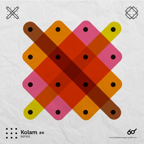 Kolam Series #4   A Kolam is a geometrical line drawing composed of curved loops, drawn around a grid pattern of dots in South india.