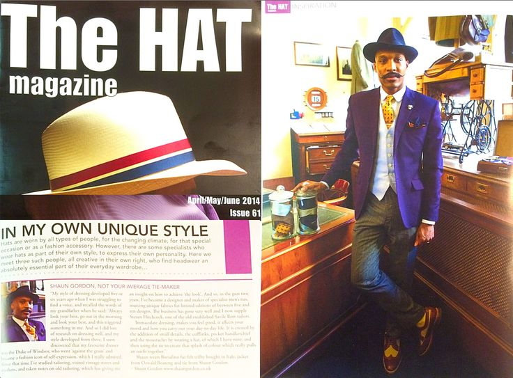 Shaun Gordon Features In The Hat Magazine where he is Interviewed about his choice of hats in relation to his personal style. Issue 61: April/May/June 2014