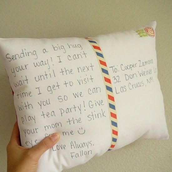 Postcard Pillow. the closest way to send a hug that I've ever seen!.