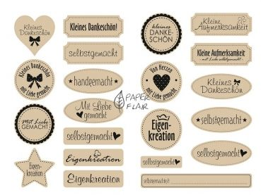 Hübsche Aufkleber aus Kraftpapier für Ihre Geschenke. Mit diesen Aufklebern lassen sich Tüten, Schachteln und Umschläge hübsch dekorieren. - Material: Kraftpapier - 21 Muster - Lieferumfang: 42 Sticker in 21 Muster