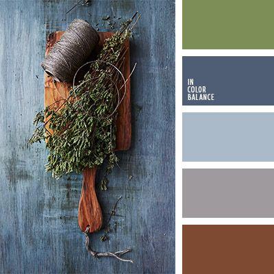 azul claro, azul oscuro y gris, azul turquí, color azul Denim, color azul oscuro polvoriento, color azul tejano, color gris, color gris fuerte, color oliva, combinación de colores para casa, marrón rojizo, marrón y gris, matices del azul oscuro, verde, verde polvoriento, verde y gris.