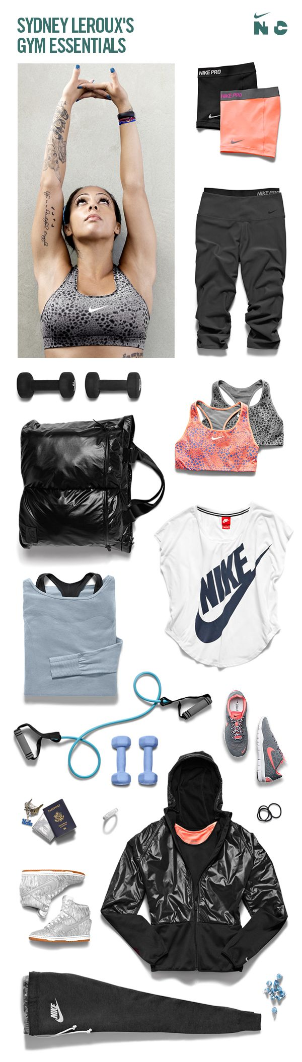 Sydney Leroux's workout favorites. AKA Wish I was rich enough for more Nike products to find their way into my closet...