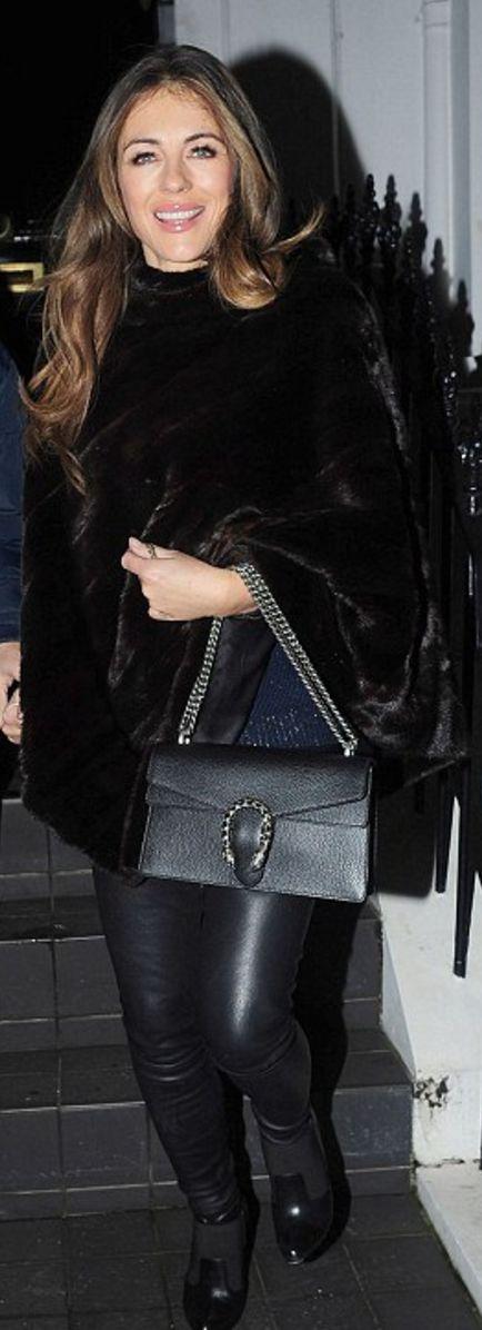 Who made Elizabeth Hurley's black handbag?