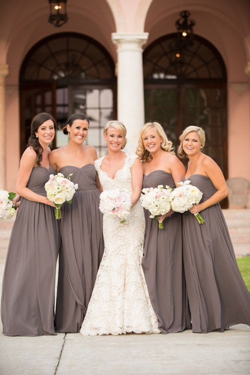 Gorgeous bride and bridesmaids wearing elegant gray dresses - wedding by Lisa Stoner and Abby Liga Photography | via junebugweddings.com