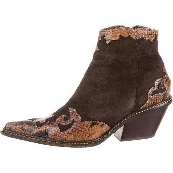 Donald J Pliner Cowboy Ankle Boots (£120) ❤ liked on Polyvore featuring shoes, boots, ankle booties, brown, snakeskin cowboy boots, cowgirl boots, ankle cowboy boots, brown cowgirl boots and brown booties