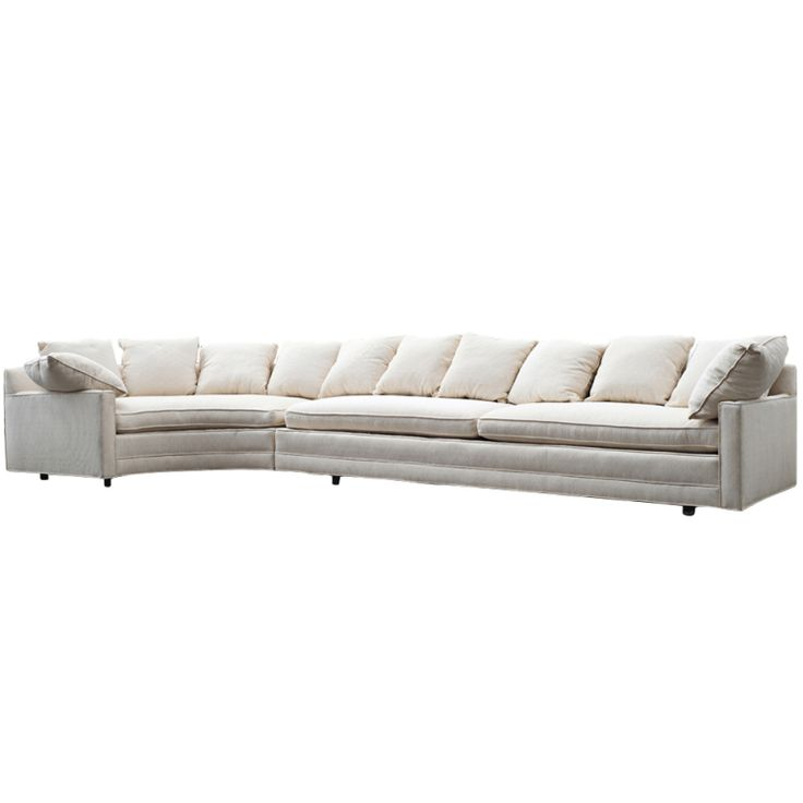 large two piece white sectional sofa with corner table