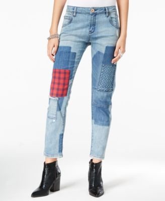William Rast Tomboy Patched Larkspur Wash Straight-Leg Jeans