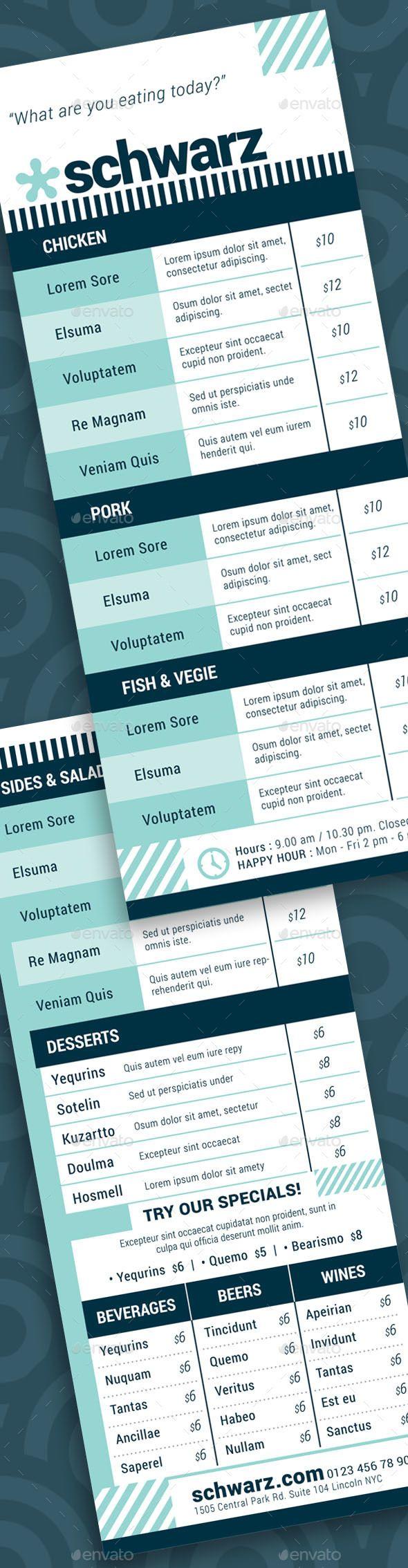 1847 besten Food Menu Templates Bilder auf Pinterest | Druckvorlagen ...