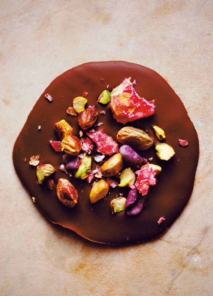 Dark chocolate discs with rose petals recipe http://www.theguardian.com/lifeandstyle/2015/mar/05/20-best-chocolate-recipes-part-4-nigel-slater-claire-ptak-peter-gordon-justin-gellatly#img-3