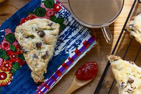 Orange and Chocolate Scones  You can always change up the flavor by adding caramelized pecans, leaving out the orange zest and adding a tablespoon of your favorite caramel coffee syrup. It does make the dough a little sticky, so be prepared to flour everything well.