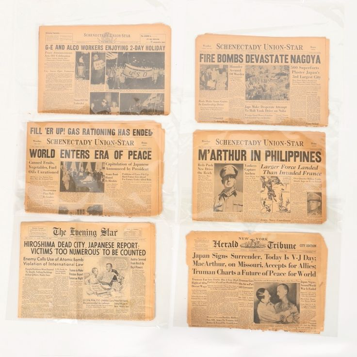 A collection of WWII newspaper headlines featuring Hiroshima. This collection features six partial newspapers from New York dating to 1944-1945 with headlines relating to World War II. The headlines featured include Japan surrendering, the bombing of Nagoya, G-E and Alco workers enjoying a two-day holiday, General MacArthur in the Philippines, the world entering peace after Japan surrender, and the bombing of Hiroshima.
