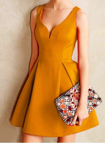 Retro Style V-Neck Candy Color Sleeveless Dress For Women