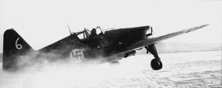 Finnish fighter Moran-Saulnier MS.406 takes off from an airfield Hollola