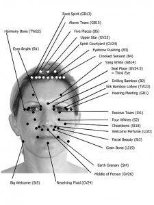Reflexology chart for Facial Reflexology.
