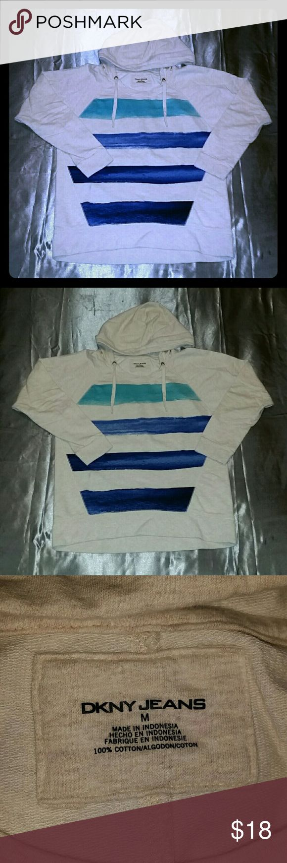 Women's hoodie Light beige 100% cotton pull over hoodie with teal & blue stripes on the front no stains or flaws only worn once DKNY Tops Sweatshirts & Hoodies