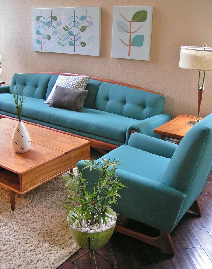 Mid-Century Modern •~• Aqua/teal/turquoise And Teak Furnishings With