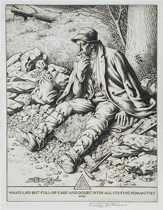 What's Life but Full of Care and Doubt, with all its Fine Humanities by Stanley Anderson (British 1884-1966) - engraving