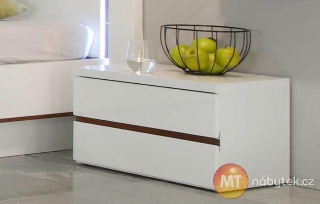 Noční stolek Cordelia se dvěma zásuvkami, bílý lesk Cordelia furniture - bedside table