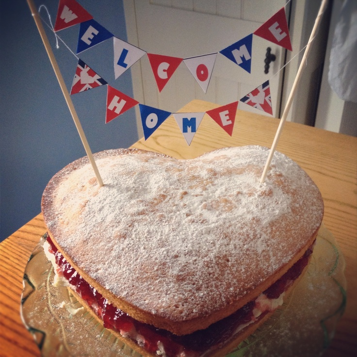 Bunting cake. Welcome home.