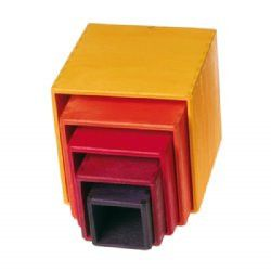 Build, knock down, transport, hide, measure...the possibilities are endless with these beautiful wooden stacking boxes from Europe. It's amazing how many uses the child can put these to. A smaller stacking box set, suitable for younger children (the scale and weight is a little smaller than our larger group