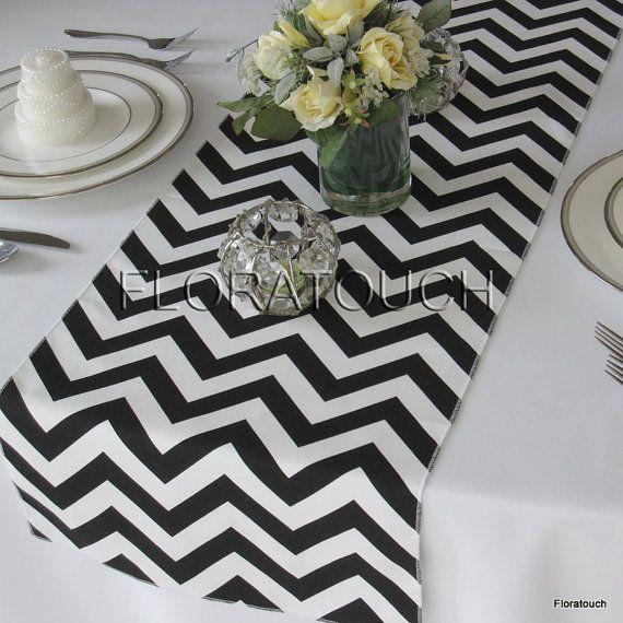 Black and White Chevron Zigzag Wedding Table Runner