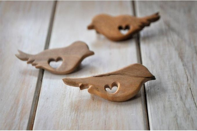 Hand carved wood bird brooch  by Antique Fusion Jewellery