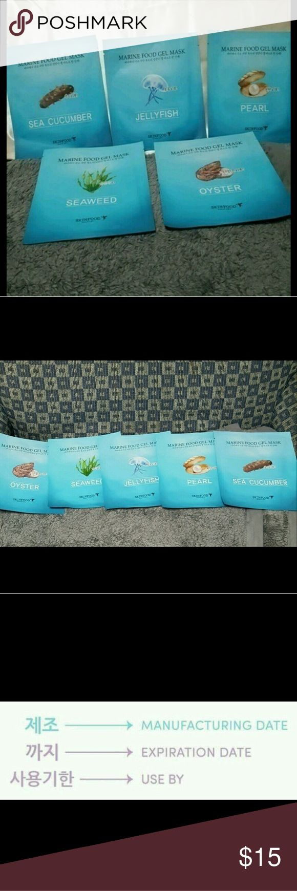 Skinfood Marine Food Gel Mask set * Please note that the manufacturing date is stamped and NOT the expiration date!!! This is standard with Korean cosmetics. This lot comes with the five masks shown.   Expiration date is three years from manufacturers date so this is good between July 19-20, 2018  #sheetmask #skinfood #korean Skinfood Other