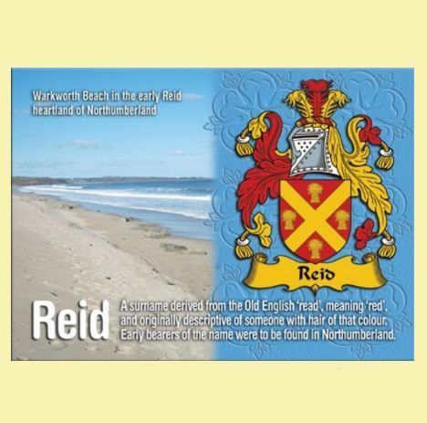 reid name. for everything genealogy - reid coat of arms english family name fridge magnets set 2