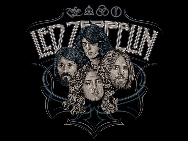 «LED ZEPPELIN» Vector illustration. Artwork series of Kings of rock. Illustration of the print for t-shirts. Not a commercial project. The work is done in programs Adobe Illustrator.