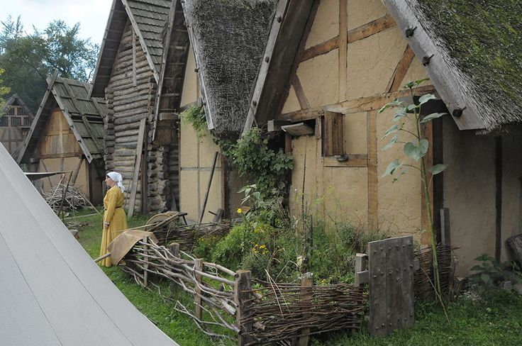 """Not all """"viking houses"""" were longhouses! In Jutland (Denmark), and in eastern Europe, they were timber framed, thatched, houses, made from wattle and daub (willow branches and clay), or wood."""