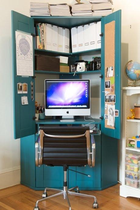Corner armoir as desk.