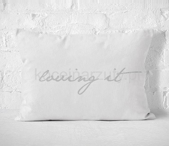Poszewka biała ozdobna z jasnoszarym napisem