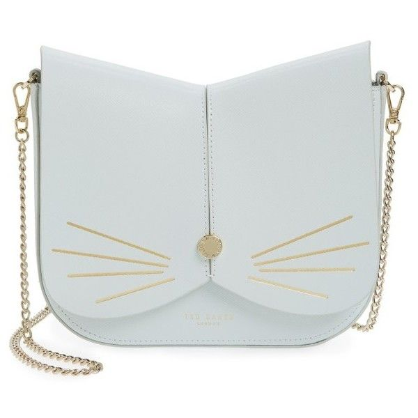 Women's Ted Baker London Cat Leather Crossbody Bag ($195) ❤ liked on Polyvore featuring bags, handbags, shoulder bags, bolsas, purses, pale green, man bag, leather hand bags, handbags shoulder bags and leather cross body purse